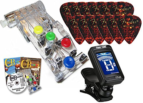 Chord Buddy Guitar Learning System With True Tune Chromatic Tuner & Fender Picks Package