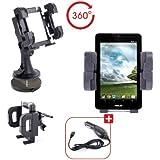 Support Voiture 3 en 1 pour téléphone portable / smartphone / tablette Asus FonePad Android 4.1 Jelly Bean - pour grille d'aération, pare-brise et tableau de bord + Chargeur de voiture allume-cigare bonus