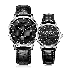 Starking Men's & Women's AM/L0187 Black Dial and Strap Automatic Couple Watches