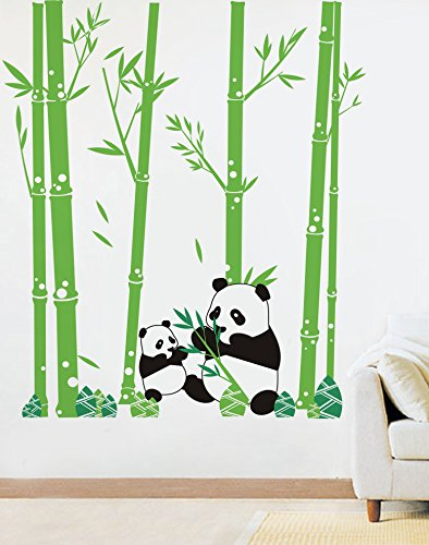 PopDecors - Pandas Love Bamboo - 79in H - Custom Beautiful Tree Wall Decals for Kids Rooms Teen Girls Boys Wallpaper Murals Sticker Wall Stickers Nursery Decor Nursery Decals PT-0074