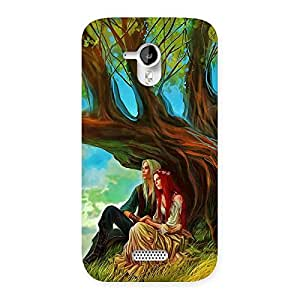 Special Couple Under Tree Multicolor Back Case Cover for Micromax Canvas HD A116