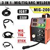 TOSENBA MIG Welder MIG/TIG/ARC Welder 3 in 1 Welding Machine DC 220V 200A MMA Inverter IGBT Digital Display MIG200