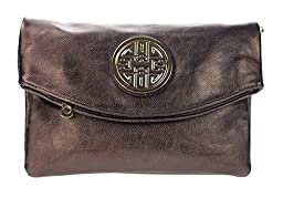 Canal Collection Multi Purpose Soft Foldable PVC Cross Body Clutch with Emblem (Bronze)