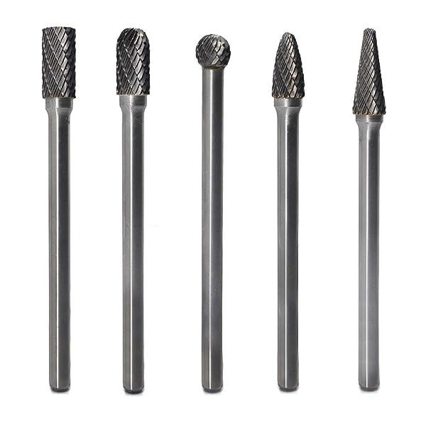 "5PCS//Set Cylindrical Cut Tungsten Carbide Bur Cutting Tool Die Grinder Bit 1//4/"""