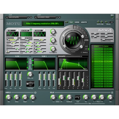 MOTU MX4 Version 2 Multi Synthesizer Virtual Instrument (Mac Only)