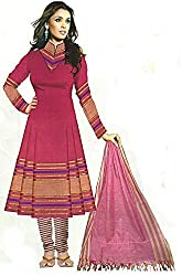 Swadeshi Khadi  Women's Cotton Unstitched Dress Material(GP 117_Dark Pink_Free Size)