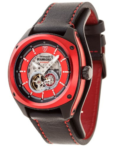 Detomaso Men's Automatic Watch TANAGRO Automatic Black/Red Aluminium DT2042-B with Leather Strap