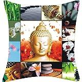 "Cherry Homes,DIGITAL PRINT CUSHION COVER SET - BUDDHA Print/Multi Print (size:16""x16"")- Pack Of 2 Pcs. - B00UH97RY6"