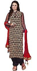 Sree Impex Women Georgette Semi Stitched Designer Salwar Suit Dress Material (SI-SK-14_Black_Free Size)