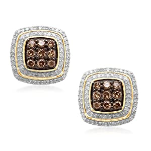 Click to buy Champagne Diamond Earrings: Gold Champagne and White Diamond Cushion Shape Earring from Amazon!