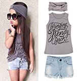 FEITONG 1Set Kid Baby Girls Vest Top Clothes + Jeans Pants Shorts+Scarf Suit Outfit (Age 6-7Y)