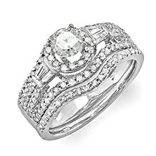 buy 1.00 Carat (Ctw) 14K White Gold Round & Baguette Diamond Ladies Halo Style Bridal Engagement Ring Matching Band Set 1 Ct (Size 7)