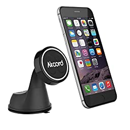 Car Mount, Akcord® Magnetic Phone Holder for Windshield and Dashboard - Universal for All Smartphones include iPhone, Samsung Galaxy Series, HTC, GPS Devices