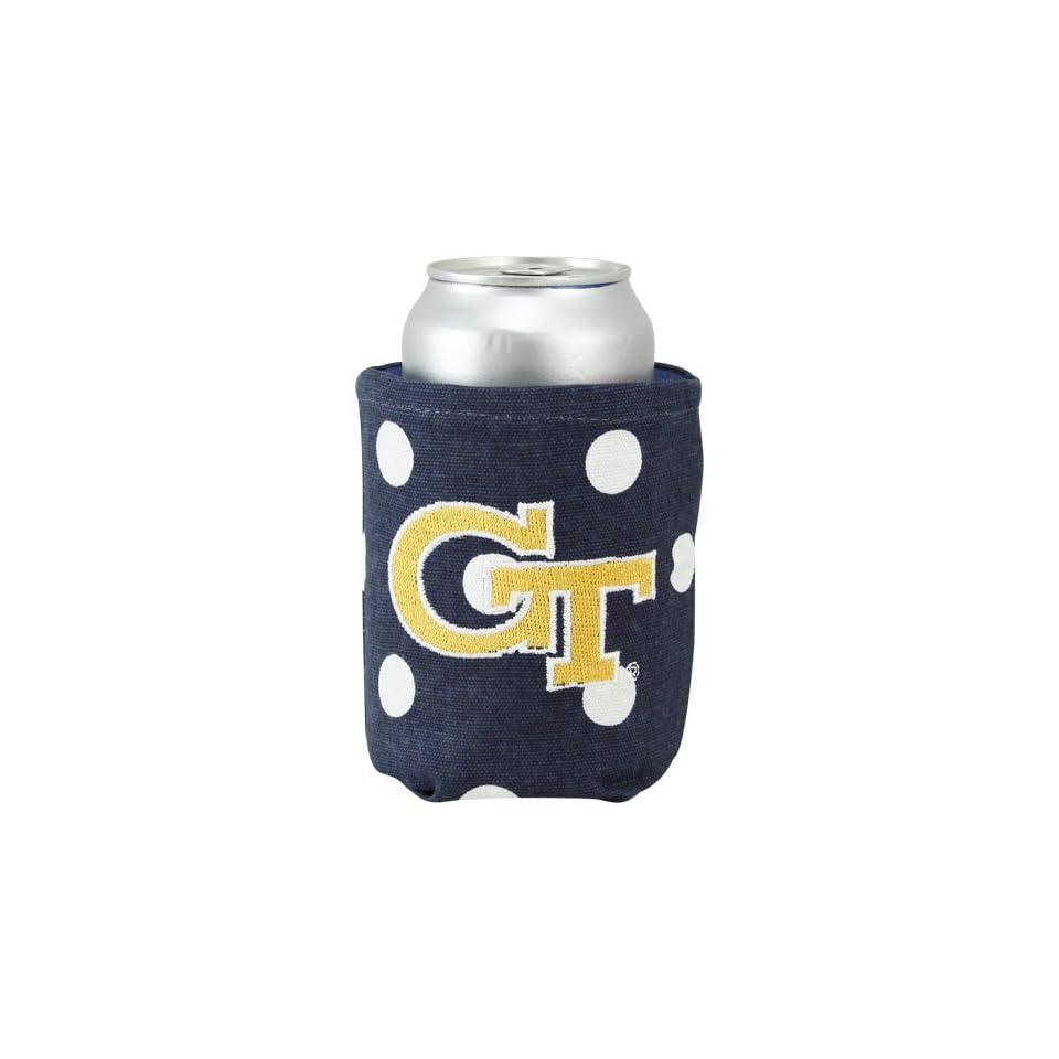 NCAA Georgia Tech Yellow Jackets Navy Blue Polka Dot Canvas Can Koozie