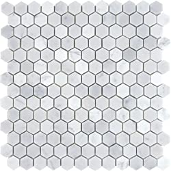 CARRERA HEXAGON HONED MARBLE MOSAIC 1&quot;