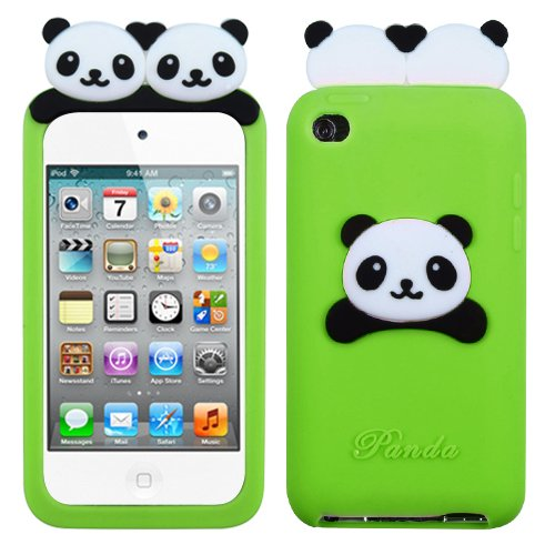 Cell Accessories For Less (Tm) Apple Ipod Touch (4Th Generation) Electric Green Peeking Pandas Pastel Skin Cover + Bundle (Stylus & Micro Cleaning Cloth) - By Thetargetbuys