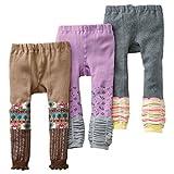 [backbuy] 3para 0-3años bebé niñas Leggings pantalones de punto pantalones PJ17 Talla:12-18 meses