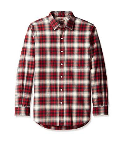 J. McLaughlin Men's Plaid Clinton Spread Collar Trim Fit Shirt