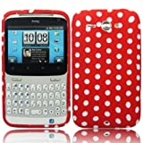 Cooltechstuff Red White Polka Dots Silicone Rubber Soft Gel Multi Color Series Case Cover For HTC Chacha G16