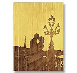 Neron Art - Hand painted Cityscape Oil Painting on Gallery Wrapped Canvas - Love In Paris 14X20 inch (36X51 cm)
