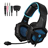 SADES SA807 Multi-Platform Stereo Professional Gaming Headset Over Ear Headphones with Microphone Volume-Control for PS4 Xbox One PC Mac Tablets Ipad Ipod Android(Black & Blue)