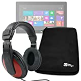DURAGADGET Premium Quality Black EVA Hard Shell Case with Black & Red Noise Reduction Headphones for Microsoft Surface PRO 3 (12