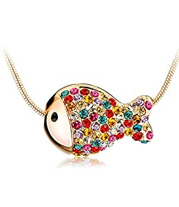 Ladies Austria Crystal 18k Gold Plated Multicolor Nemo Fish Pendant Swarovski Elements Crystal Necklace for Women Chain 42cm