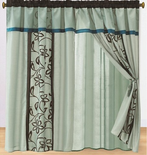 Pair of Aqua Blue Teal Brown High Quality Faux Silk Bamboo Nod Windows Curtain / Drapes / Panels with Valance and Attached Sheer Lining.
