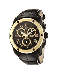 Swiss Legend Men's 10005-BB-01-GB Traveler Collection Chronograph Black Dial Black Leather Watch