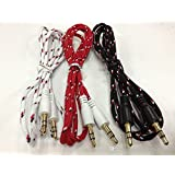 JYARA Fabric Woven Braided 3.5mm To 3.5mm Universal AUX TangleFree Auxiliary Cable For Car Stereo,Mobile Phones,CD,MP3,DVD,MP4 Players 1.5m Long Colorful Tangle Free. Compatible With LG Ice Cream Smart
