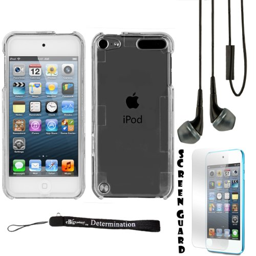 Clear 2 Piece Cover Shield Protector Case For Apple Ipod Touch 5 ( 5Th Generation) 32Gb, 64Gb + Black Crystal Clear High Quality Hd Noise Filter Handsfree Earbuds ( 3.5Mm Jack ) + Anti Glare Screen Protector Guard + An Ebigvalue Tm Determination Hand Stra