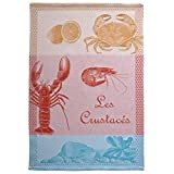 Coucke French Jacquard Cotton Kitchen Dish Towel Seaside Collection, Lobster PJ Pattern, 19 by 29-Inch, Multi-Color