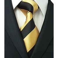 (500,ゴールドブラック,ストライプ )高級な紳士のシルクのネクタイLandisun :ネクタイ+カフスボタン+ハンカチ 3点セット