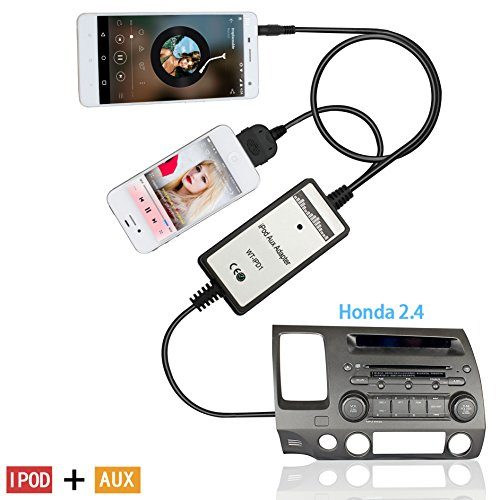 Auxillary Adapter, Moonet Car CD Changer 3.5mm AUX Input IPOD Cables Connect 2003-2012 Honda Accord Civic CRV Fit Odyssey Element Pilot S2000 City Acura MDX CSX RDX TSX (2011 Honda Crv Ipad Holder compare prices)