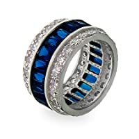 Sapphire Ice Sterling Silver CZ Anniversary Band
