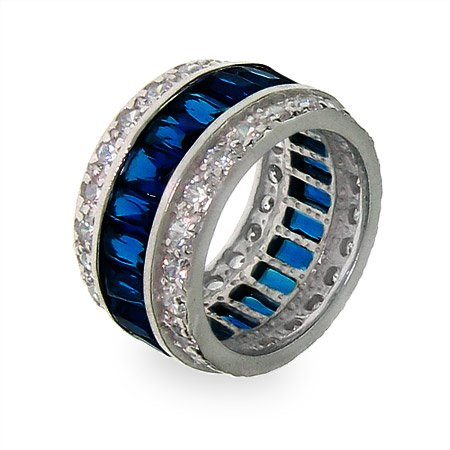 Sapphire Ice Sterling Silver CZ Anniversary Band Size 6 (Sizes 5 6 7 8 9 10 Available)