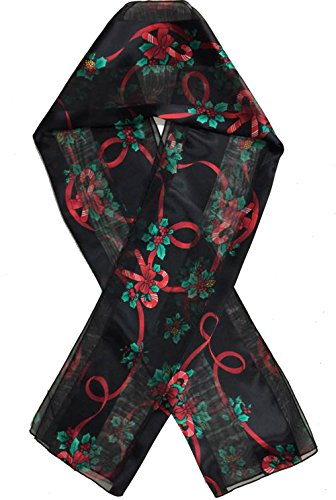 Christmas-Scarf-Christmas-Candycane-Poinsettia-w-Gift-Box-By-Crown