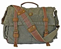 SERBAGS Military Vintage Laptop Leather Canvas Shoulder Messenger Bag