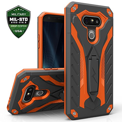 Zizo Static Cover for LG G5 [Military Grade] Case w/ [Built-in Kickstand] Shockproof Impact Dispersion Technology-Black/Orange (Lg Phone Case Cover compare prices)