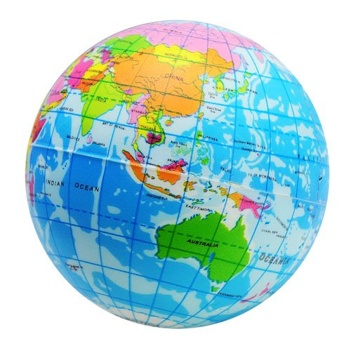 Funny World Map Globe Foam Stress Relief Bouncy Ball
