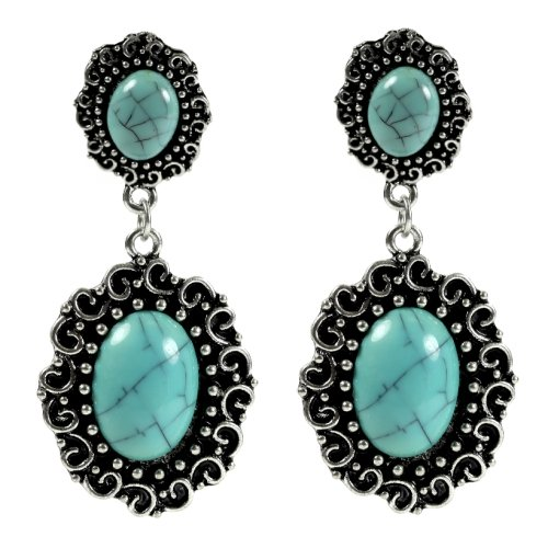 Antique Silver Tone Double Turquoise Earrings