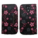 Samrick Executive Floral Flowers Specially Designed Soft Leather Book Wallet Case with Credit Card/Business Card Holder, Screen Protector, Microfibre Cloth and Black High Capacitive Mini Stylus Pen for Samsung i9500 Galaxy S4/i9505 Galaxy S4/Galaxy S4 Go