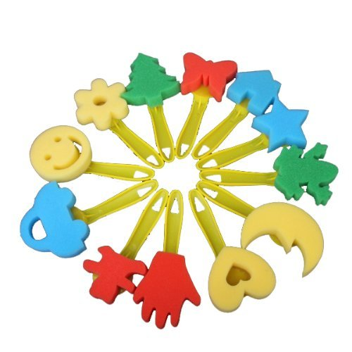 toogoor-12pcs-colorful-different-shapes-kids-children-crafting-painting-sponge-stamp