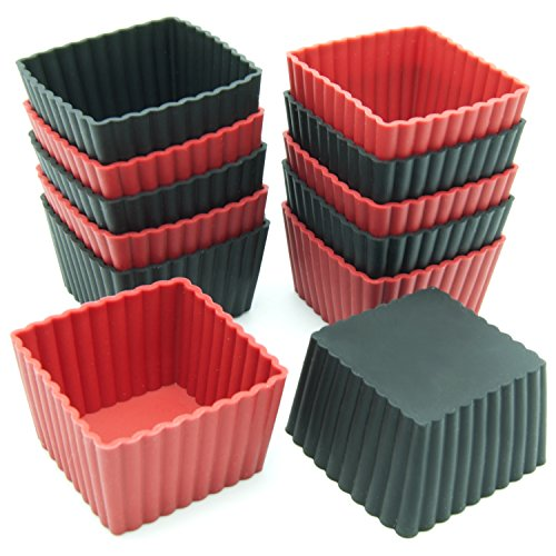 Freshware CB-301RB 12-Pack Silicone Mini Square Reusable Cupcake and Muffin Baking Cup, Black and Red Colors