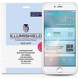 iPhone 7 Pro Screen Protector [2-Pack], iLLumiShield Blue Light Screen Protector for iPhone 7 Pro HD Shield with Anti-Bubble & Anti-Fingerprint UV-Filter Film -