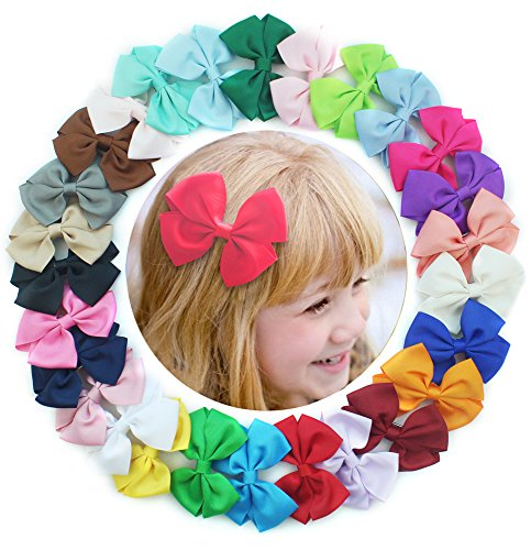 27Pcs 3 Inch Hair Bows Girls Kids Children Alligator Clip Solid Grosgrain Ribbon Hair accessories (Get Free Gems O compare prices)