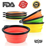 Travel Collapsible Dog Bowl by For Dog Premium - Set of 3 - Premium Pet Travel Bowl for Food & Water Bowls in Bright Colors