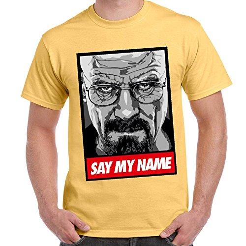 CHEMAGLIETTE! - Maglietta Breaking Bad Heisenberg Say My Name T-Shirt Maglia Maniche Corte Uomo, Colore: Giallo Chiaro, Taglia: L