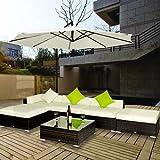 Outsunny - Set Mobili da Giardino in Rattan Set Lounge Salotto telaio in alluminio 18pz