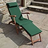 Trueshopping 'Ambleside' Outdoor Garden Patio Pool Hardwood Steamer Lounger Sunlounger Sun Bed Chair With Dark Green made to fit Cushion